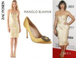 Jessica Biel's Zac Posen Strapless Peony Dress And Manolo Blahnik Hangisi Pumps