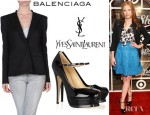 Jessica Chastain's Balenciaga Blazer And YSL Tribute Patent Leather Mary Jane Pumps