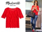 Jordana Brewster's Madewell Scallop Lace Top
