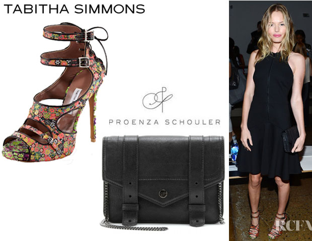 Kate Bosworth's Proenza Schouler PS1 Large Chain Wallet And Tabitha Simmons Bailey Floral Print Lace Up Sandals