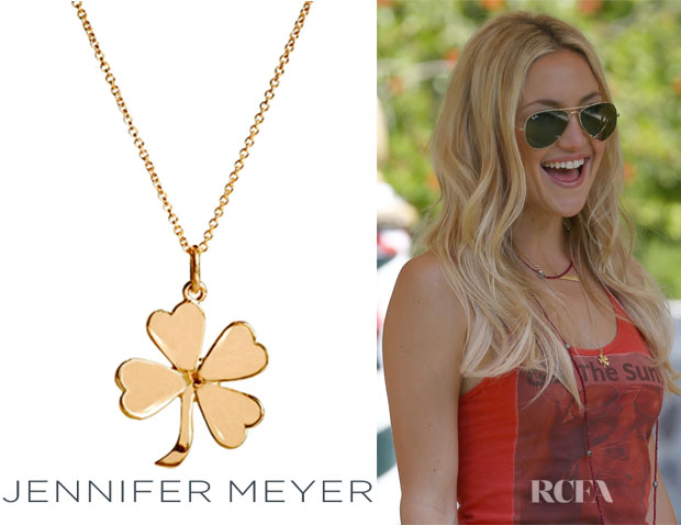 Kate Hudson's Jennifer Meyer Four Leaf Clover Necklace1