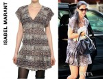 Katie Holmes' Isabel Marant Pleated Printed Silk Georgette Dress