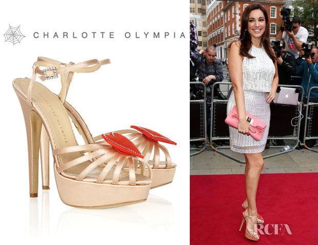 Kelly Brook's Charlotte Olympia Queen Of Hearts Embellished Satin Sandals