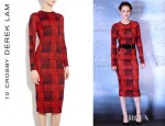 Kristen Stewart's 10 Crosby Derek Lam Long Sleeve Plaid Print Crew Neck Dress