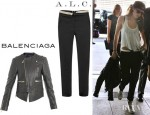 Kristen Stewart's A.L.C. Jude Cropped Twill Pants And Balenciaga Quilted Shoulder Biker Jacket