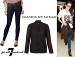Kristen Stewart's All Saints Rixey Leather Bomber And 7 For All Mankind Skinny Jeans