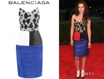Kristen Stewart's Balenciaga Hostess Jacquard And Leather Dress