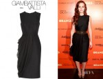 Leighton Meester's Giambattista Valli Wool Blend And Silk Chiffon Dress