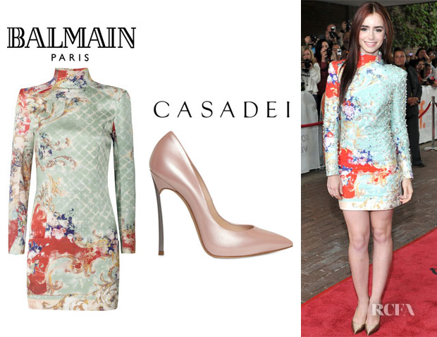 Lily Collins' Balmain Printed Silk Sateen Dress And Casadei Shiny Patent Blade Heel Pumps