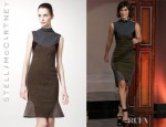 Lizzy Caplan's Stella McCartney Mixed Fabric Sheath Dress