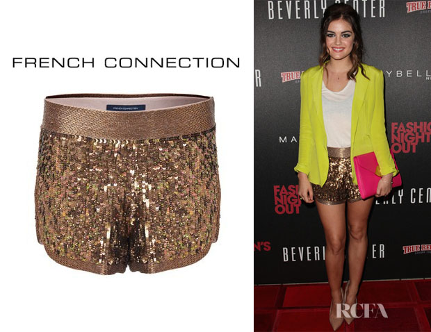 Lucy Hale's French Connection Ella Sequin Shorts