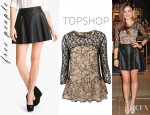 Lucy Hale's Topshop Paisley Lace Insert Peplum Top And Free People Faux Leather Skirt