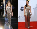 Lucy Liu In Versace - 2012 Emmy Awards