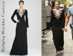 Michelle Trachtenberg's Badgley Mischka Couture Long-Sleeve Deco-Bead Gown