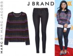 Mindy Kaling's Marc by Marc Jacobs Vanya Metallic Striped Sweater And J Brand Mid Rise Leggings Style Jeans