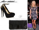 Nicky Hilton's Brian Atwood Zenith Chain And Stud-Embellished Pumps And Proenza Schouler PS1 Leather Clutch