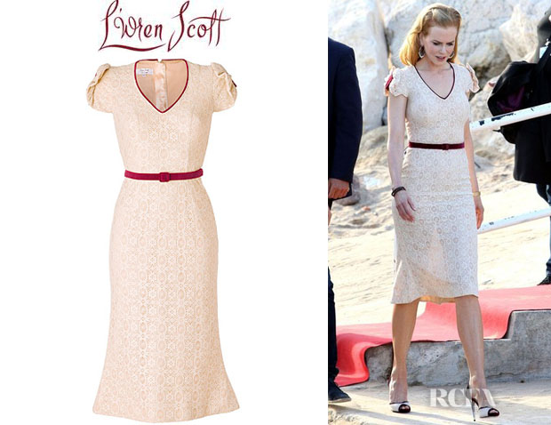 Nicole Kidman's L'Wren Scott Cream Lace Belted Sheath Dress