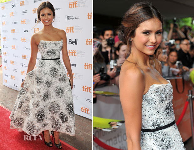 Nina Dobrev In Monique Lhuillier - 'The Perk Of Being A Wallflower' Toronto Film Festival Premiere