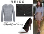 Olivia Palermo's Reiss Cate Sweatshirt Jumper, Reiss Arleta Envelope Clutch And Elizabeth and James Sash Snake d'Orsay Pumps