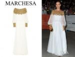 Olivia Wilde's Marchesa Embellished Silk Chiffon Gown