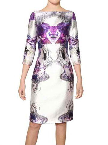 PRABAL GURUNG - PRINTED WOOL SATIN DRESS