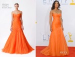 Padma Lakshmi In Monique Lhuillier - 2012 Emmy Awards