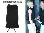 Portia de Rossi's Christopher Kane Leather Trimmed Wool Crepe Top