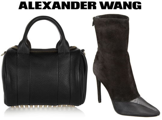 Rihanna's Mary Katrantzou Intarsia Knitted Sweater, Alexander Wang Cameron Booties and Alexander Wang Rocco Duffel Bag1
