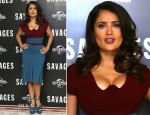 Salma Hayek In Roland Mouret - 'Savages' London Photocall