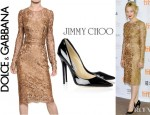 Sarah Gadon's Dolce & Gabbana Lace Dress And Jimmy Choo Anouk Patent Leather Pumps