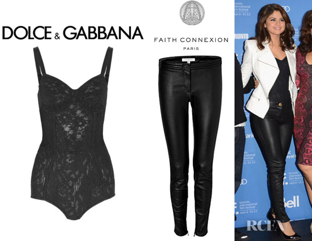 Selena Gomez' Dolce & Gabbana Lace Bodysuit And Faith Connexion Leather Pants