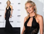 Sharon Stone In Roberto Cavalli - amfAR Benefit Gala