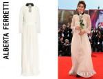 Valentina Cervi's Alberta Ferretti Lace Trimmed Embellished Silk Chiffon Gown