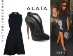 Victoria Beckham's Victoria Beckham Wool Dress And Azzedine Alaia Shoe Boots