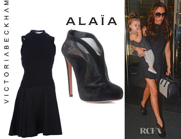 Who Victoria Beckham Wearing A Wool Dress And Azzedine Alaia Shoe Boots
