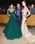 Crystal Renn and Erin O'Connor In Zac Posen - 2012 Metropolitan Opera Season Opening Night