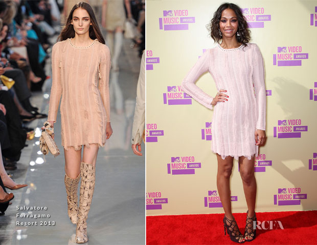 Zoe Saldana In Salvatore Ferragamo - 2012 MTV Video Music Awards