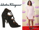Zoe Saldana's Salvatore Ferragamo Tyla Suede Open Toe Pumps