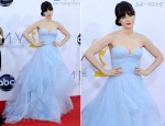 Zooey Deschanel In Reem Acra - 2012 Emmy Awards
