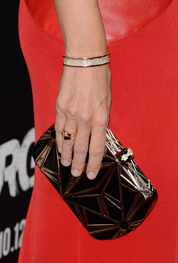 Jennifer Garner's Bulgari clutch and bracelet