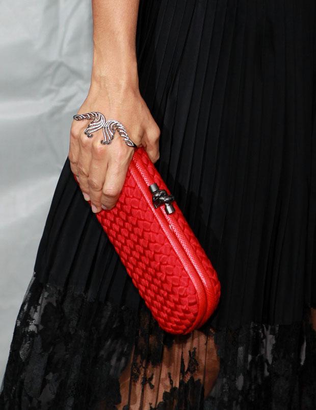 Salma Hayek's Bottega Veneta clutch