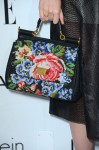 Elle Fanning's Dolce & Gabbana Miss Sicily wool tapestry and leather tote