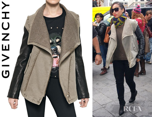 Alicia Keys' Givenchy Leather Sleeve Cotton Denim Jacket