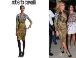 Beyonce Knowles' Roberto Cavalli Mixed Print Sheath Dress
