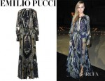 Cara Delevingne's Emilio Pucci Printed Pleated Chiffon Gown