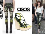 Carly Rae Jepsen's Helmut Lang Green Cicada Print Leggings And ASOS Hugo Colour Block Platform Sandals