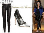 Cheryl Cole's Joseph Spark Stretch Leather Pants And Gianvito Rossi Pumps