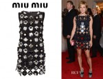 Chloe Sevigny's Miu Miu Embellished Cutout Suede Dress