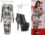 Christina Milian's Topshop Animal Bodycon Dress And Giuseppe Zanotti Leather Platform Ankle Boots