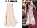 Clotilde Courau's Jil Sander Madreperla Pleated Sateen Dress